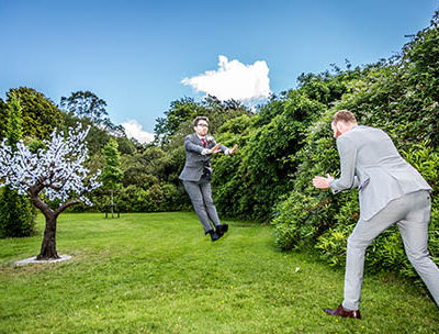 Funny image with best man using his super powers to zap the groom