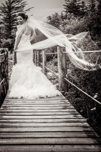 Brides veil blowing