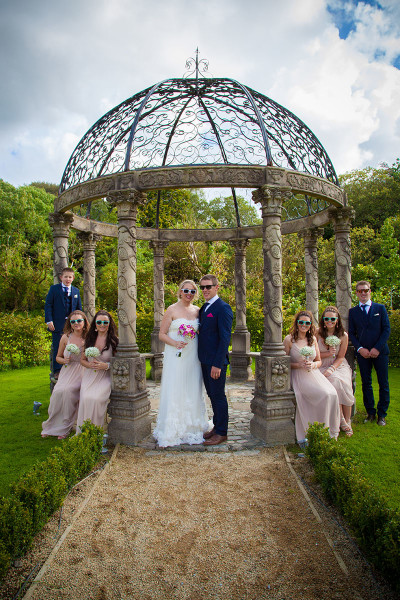 Bridal party in the gazebo at Ballyseede castle Tralee Co Kerry Munster Ireland