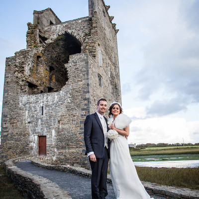 Bride and Groom at Castle Ruins Kerry