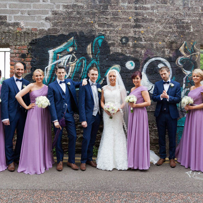 Cool bridal party with graffiti