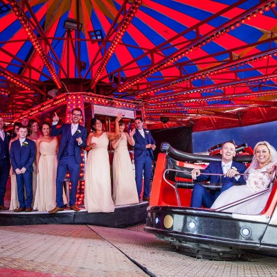 Bride and Groom at the funfair.