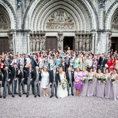 Group shot of wedding guests