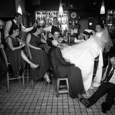 Funny drunk bridal party picture