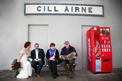 Bride and Groom at Killarney Train Station