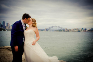 Bride and Groom Bradley's head, Sydney. Harbour bridge