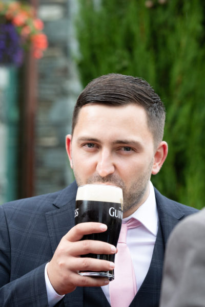 A guest having a Guinness