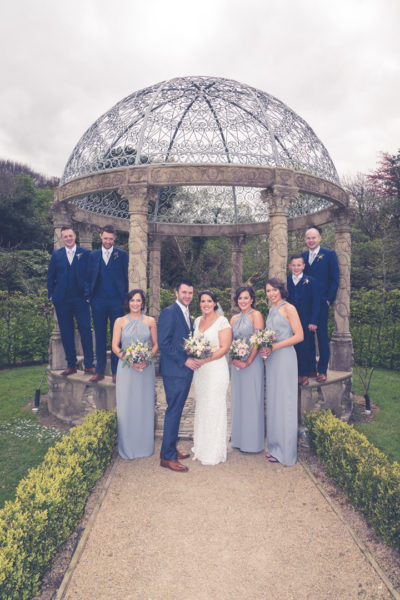 The entire bridal party in the gazebo at Ballyseede castle Tralee Co Kerry Munster Ireland